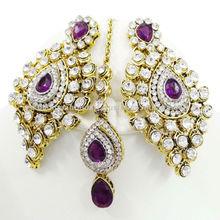 Gorgeous Purple CZ Gold Tone Maang Tikka Earring Set Indian Party Wear Jewelry