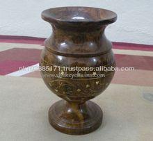 Wooden Hand Carved Flower Vase with Brass Work