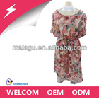 Flower printed short sleeve new fashion chiffon styles ladies dresses