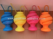 plastic ball shape cup with straw