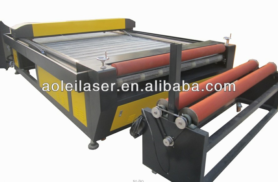 AOL-1600 x 3000mm auto feeding fabric laser cutting machine with roller