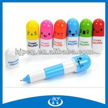 Cute Capsule Shape Retractable Plastic Pen/Short Ball Pen for Advertising
