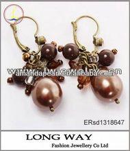 Elegant Beads Decoration Pierced Earring Ear Ornament for Female (TX-1755E) - Coffee