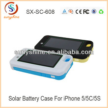 Newest high quality solar power phone case for iphone5 2200mah