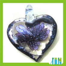 Murano Style Inlaid Purple Flower Lampwork Glass Heart Pendants