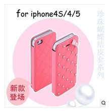 New arrival Pearl bowknot PU leather flip case for iphone 4 4S , 7 colours