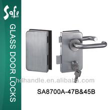 Security sus304 grade stainless steel safe glass door fittings commercial glass door lock