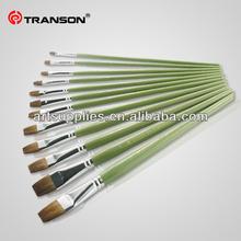 Copper ferrule Horse hair flat head wooden handle oil/acrylic artist brush lines