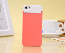 double color fashion multi-function beauty makeup mirror phone case back cover for iphone 5 with card holder