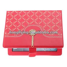 2014 wholesale leather case rhinestone leather cover for ipad air leather case,for ipad 5 case