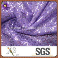 Purple Spangles Embroidered Fabric Honeycomb 3d Mesh Fabric