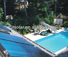 Hotel swimming pool solar heating panels