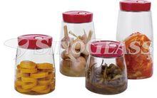 SINOGLASS 4 pcs PLASTIC lid EASY HANDLE auto air releasing preserving glass Storage canister jar set