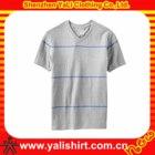 OEM latest plain stripe v-neck short sleeve cotton fit men new model men's t-shirt