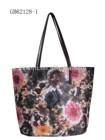 fashion flower cotton beach bags with PU handler