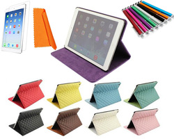 High Quality Diamond Pattern Flip Stand PU Leather Case Hard Cover for Apple iPad Air