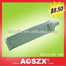best seller! Aluminum 1000LM 10w E27 220v smd CFL style 180 degree 12v 24v e27 smd led pl lamp 10w g24
