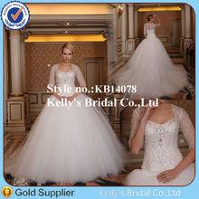 Wholesale half sleeve two pieces heavily beaded wedding dress