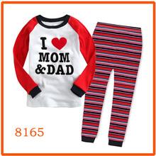 Boys Girls Love MOM & DAD Pajamas Sets Kids Clothing Set Wholesale Children Hot Pink Pijama 8165