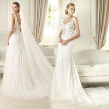 WD4157 sleeveless zipper close back natrual waist cathedral length veil brush train pearls beaded bodice trumpet wedding dresses