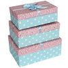 Hot Saling Cute Blue Paper Box with White Polka Dots/Floral Gift/Candy/Storage Paper Packaging Box