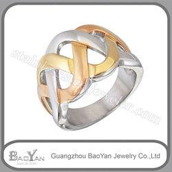 De moda anillo oro plateado de solitario de joyeria de acero inoxidable, al por mayor