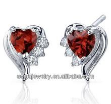 Fashion Jewelry Sterling Silver Cubic Zirconia Garnet big Heart Shape Earrings