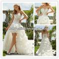 sexy novo designer frisado querida ver através de organza curta da frente e traseira longa alibaba vestido de noiva vestidos de noiva 2014