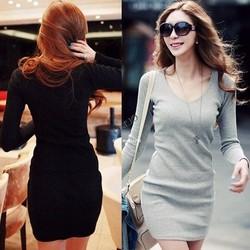 2014 New Casual Fashion Women Sexy V Neck Long Sleeve Slim Knit Slim Party Dress Plus size 19782