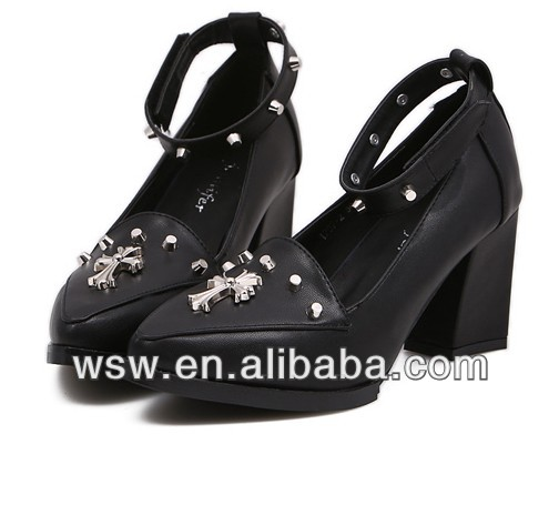 2014 new arrival very beautiful free shipping women cross decoration heels