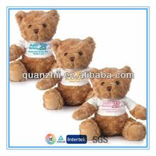 CE ASTM cute teddy bear with white t-shirt and custom logo