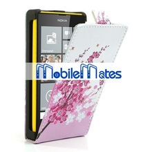 Stylish Flowers Pattern Magnetic Top Flip Pouch Leather Case For Nokia Lumia 520