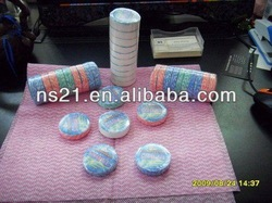 colored compressed nonwoven travel tower