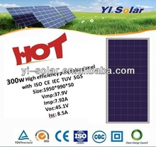 good quality and high efficiency 300w poly solar panel with YUV ISO CE IEC SGS in China