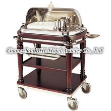 Luxury 3-tier HDF Wooden cooking roast bee flambe trolley 304# Stainless Steel Beef Cooking Oven