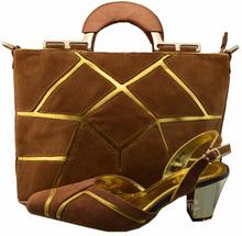 CSB1035-3 bronze Women dress shoes matching bag