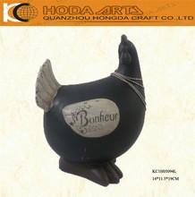 "7.5"" Fat Black Ceramic Chicken Garden Decorative Ceramics"