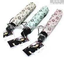 Nice Fashion Design Lady Girl Polka Dot Printed Easy Carrying Shopping 3 Fold Pen Umbrella Mini