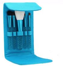 5 pcs makeup brush set crystal cosmetic tool kits for girl blue makeup bag