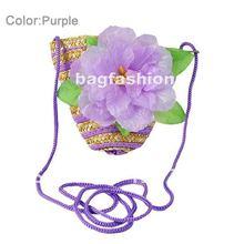 baby girls lovely aesthetic straw bags cute design diagonal flower handbags