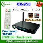 Hottest stock 2gb ram 16gb rom rk3188 quad core 1.8ghz android 4.2 quad core mini pc smart tv box with BT rj45 slot