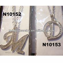 letter M D initial letter pendant necklace