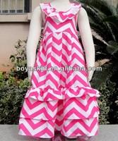 New Baby Girls Summer Chevron 100Knit Cotton Maxi Beach Dresses Party Wear hot pink Chevron Ruffled Maxi Smocked Pettidresses