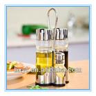 4 pcs oil and vinegar cruet set with metal stand