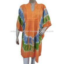Orange Dress Collar Neck Tunic Batik Pattern Women Wear Rayon Sundress