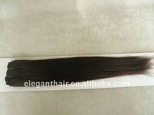 Straight dark brown hair weft brazilian remy hair