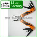 ennegrecido de acero inoxidable multi herramienta de camping con coloridos de plástico y mango de aluminio de la marca kenner