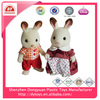 ICTI factory customized plastic flocking rabbit figurine