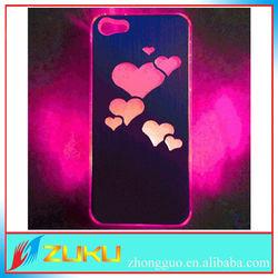 2014 hollow love heart sense flash light led hard case for apple iphone 5