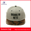 OEM Grey Snapback Hat with Flat Snakeskin Brim/Black Embroidery Logo Snapback Cap/Leather Strap Back Closure Snapback Hat/Cap